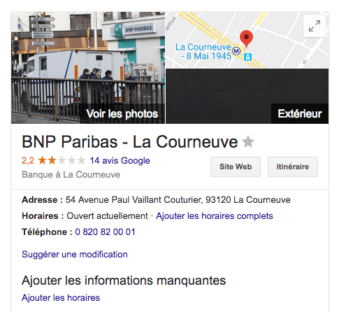 fiche google my business BNP Paribas