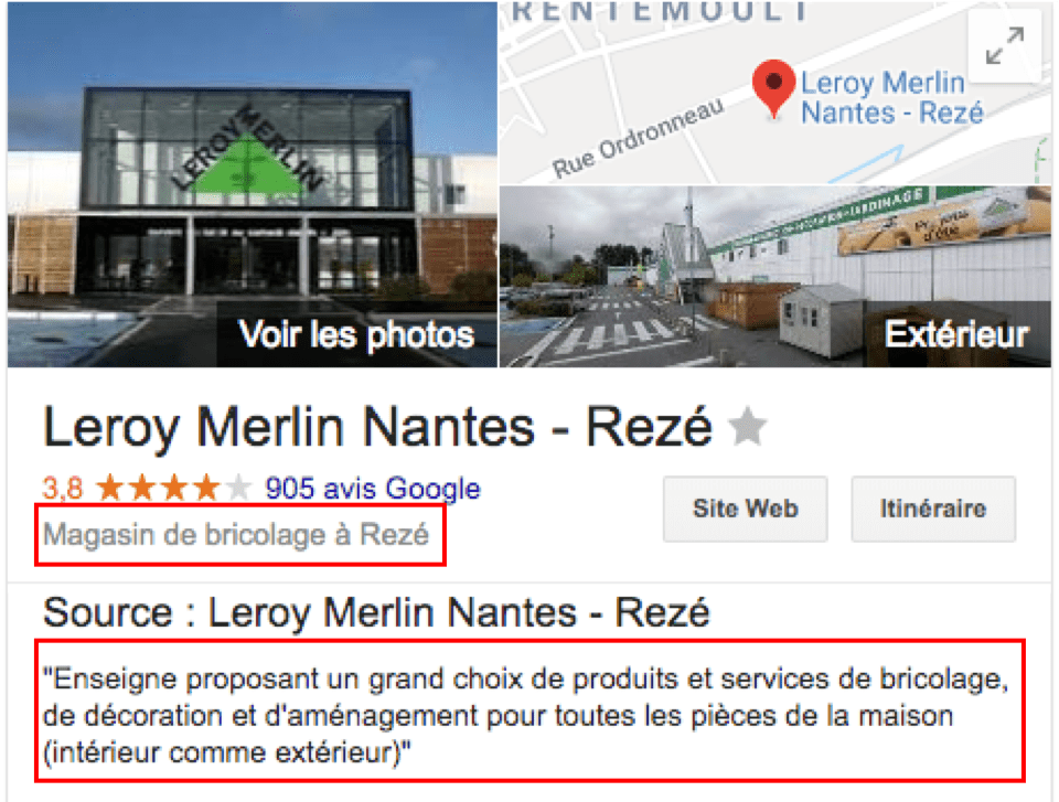 Une fiche Google My Business Leroy Merlin publiant un descriptif court et un descriptif long