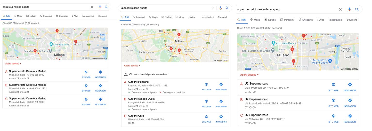 google my business orari