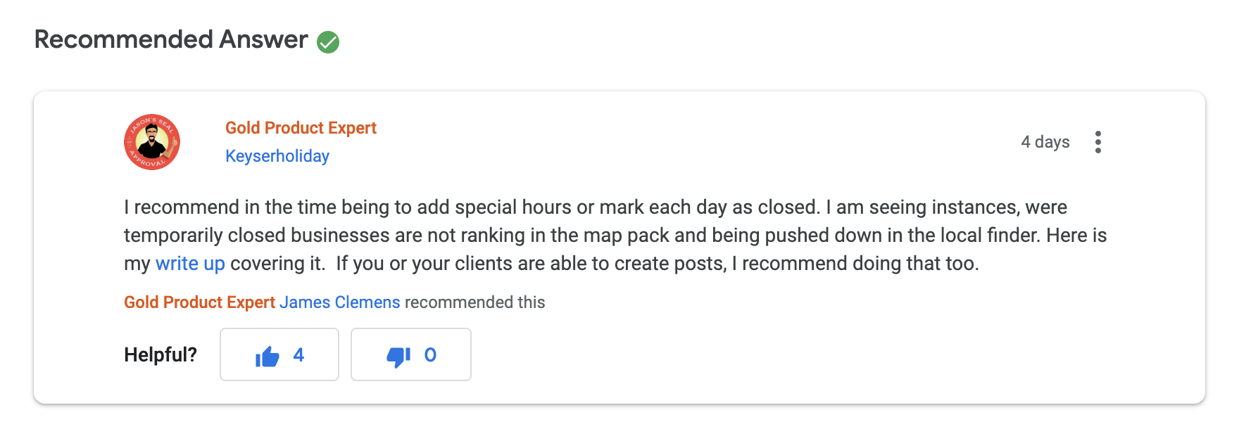 """message from google my business forum about """"temporarily closed"""" mention"""