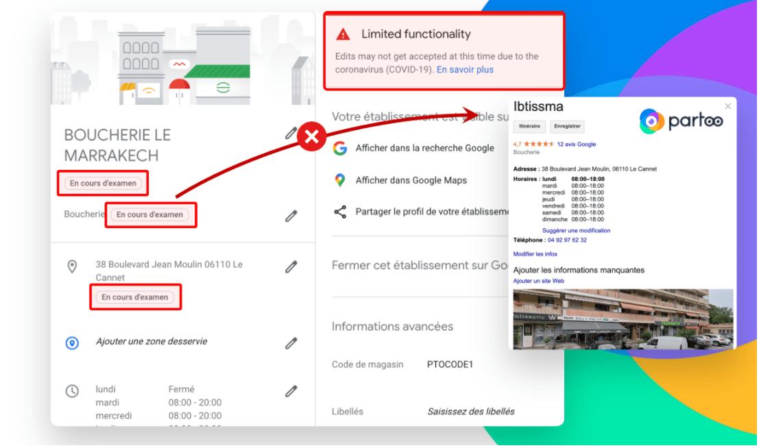 imagen del back office de GMB tras limitación en las actualizaciones de Google My Business