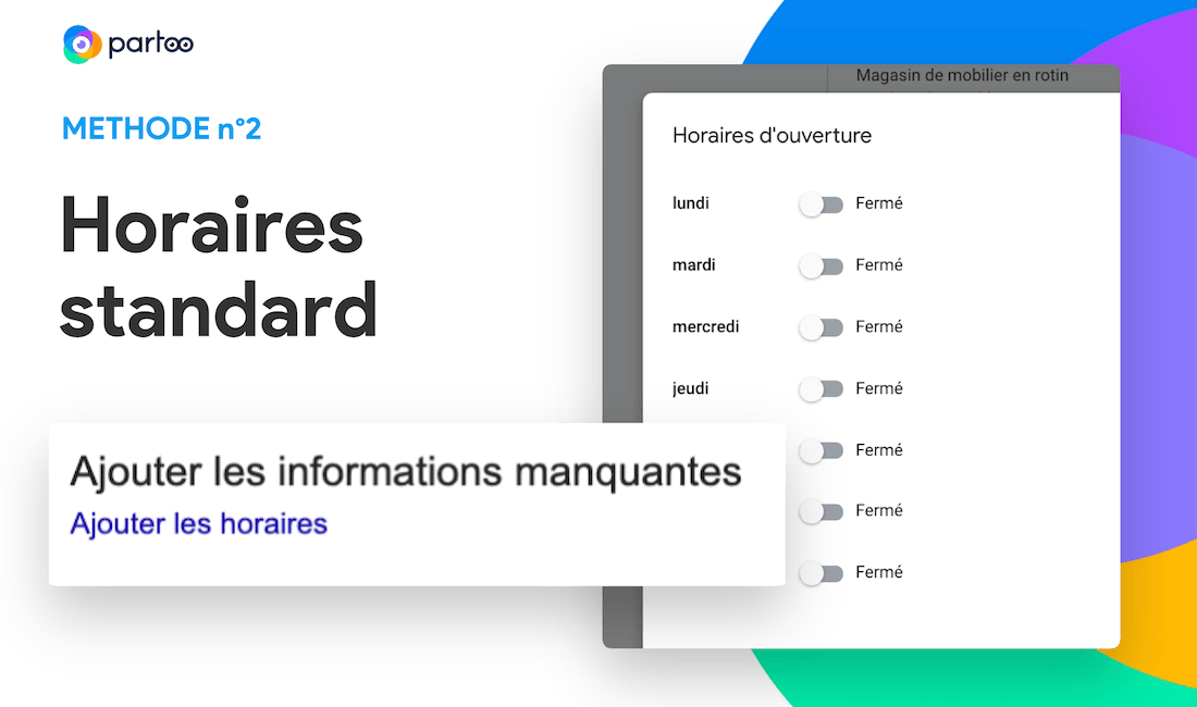 horaires standard sur google my business