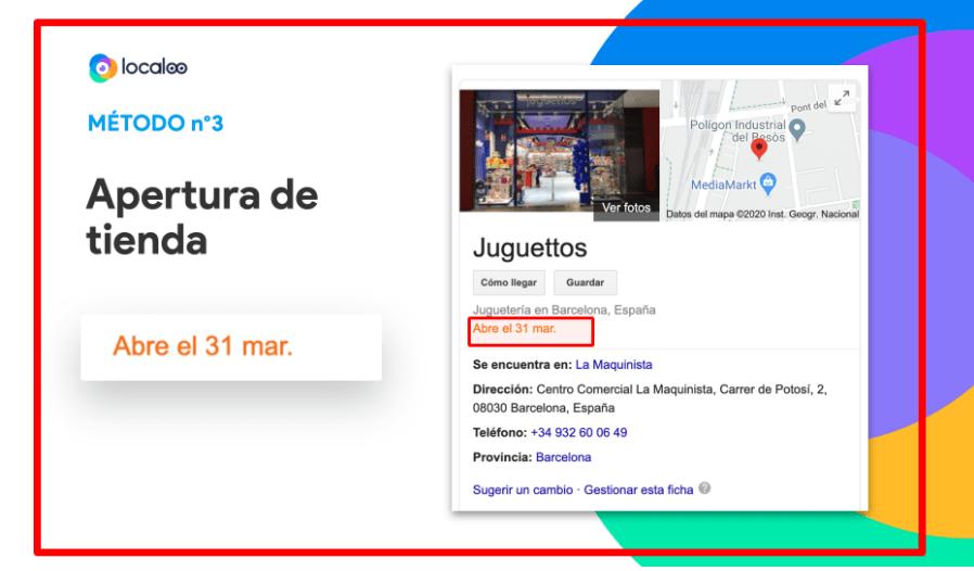 ficha google como nueva apertura de tienda durante covid19