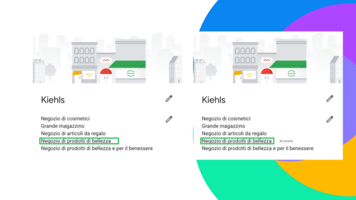 Categorie dei negozi google