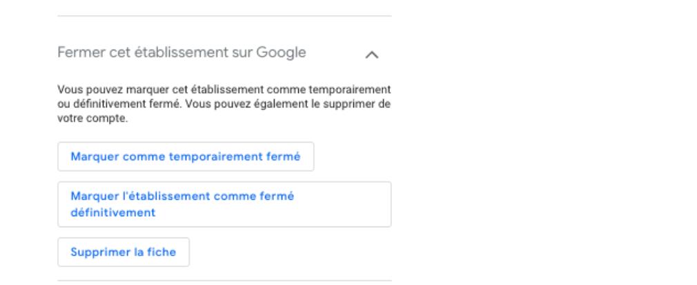 pasos del back office de google my business donde indican cómo se debe indicar un cierre de establecimiento