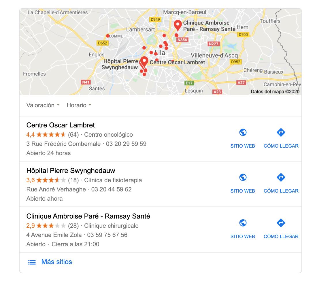resultados de búsqueda google para clínicas en Lille