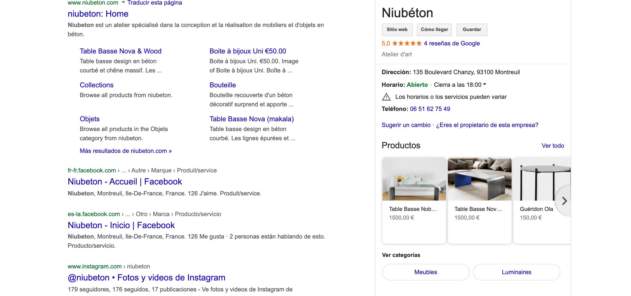 resultado de búsqueda de tienda de muebles junto con productos disponibles en tienda