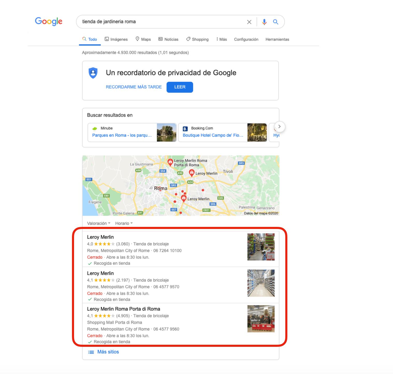 ejemplo de resultado de búsqueda google con fichas identificadas correctamente por su categoría principal y sus subcategorías