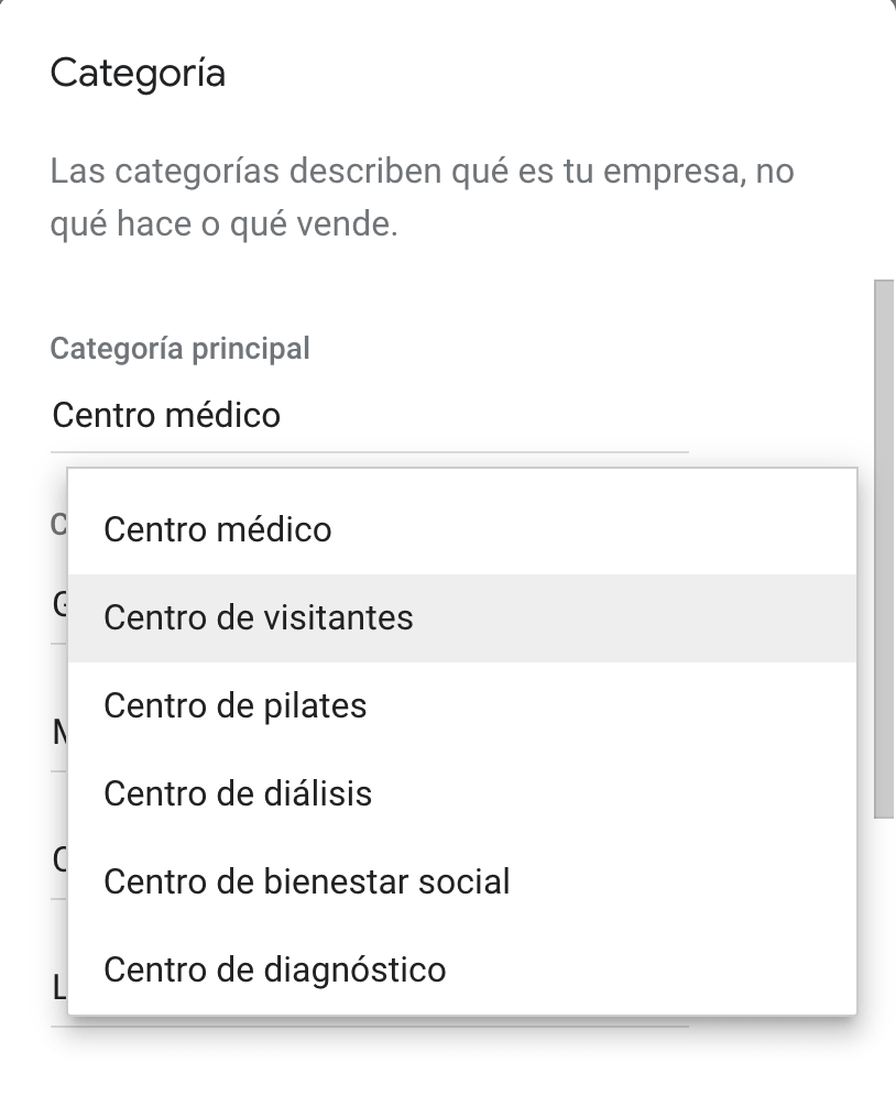 back office de google my business para categorías de salud