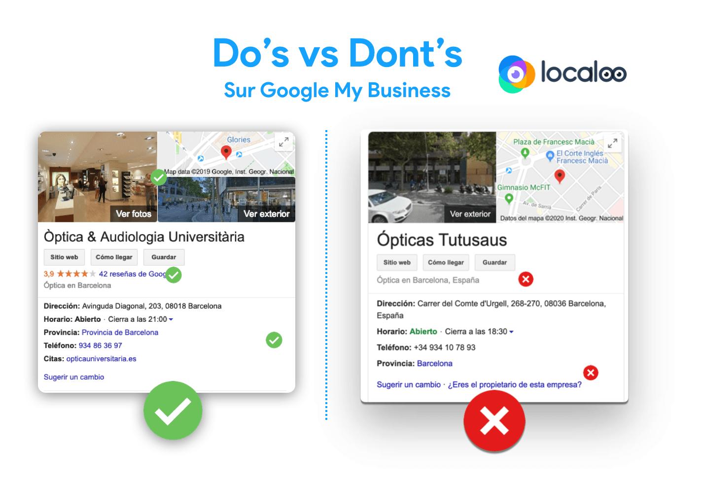 imagen sobre do's y don't en cuanto a la gestión de las fichas Google
