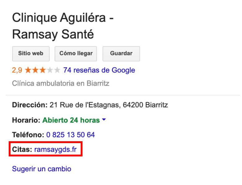 ficha google clínica Ramsay General url de citas
