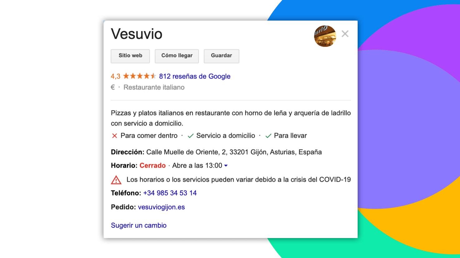ficha google de restaurante con los nuevos atributos definidos por google