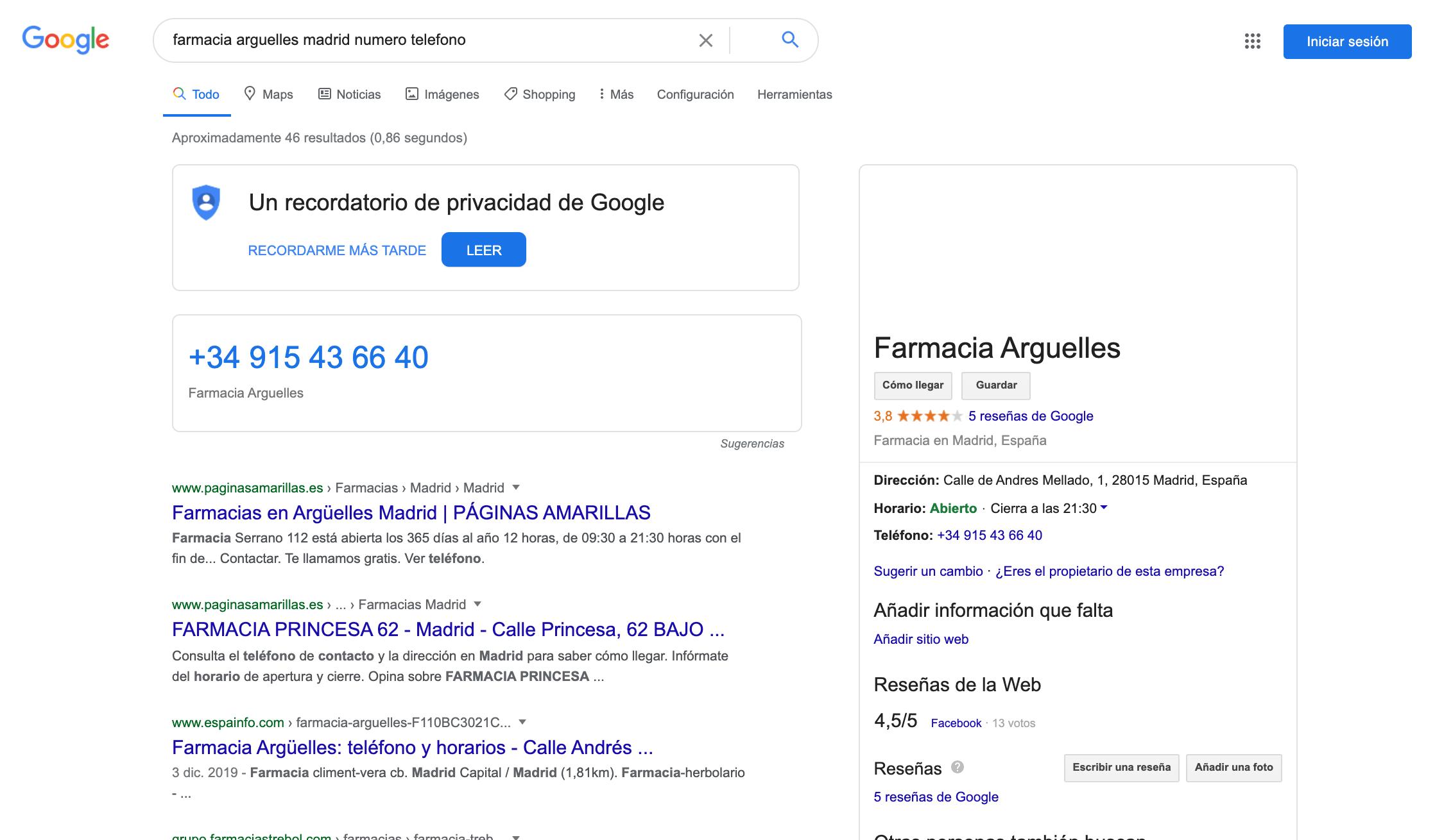 resultado de búsqueda google para número de teléfono de farmacia Madrid