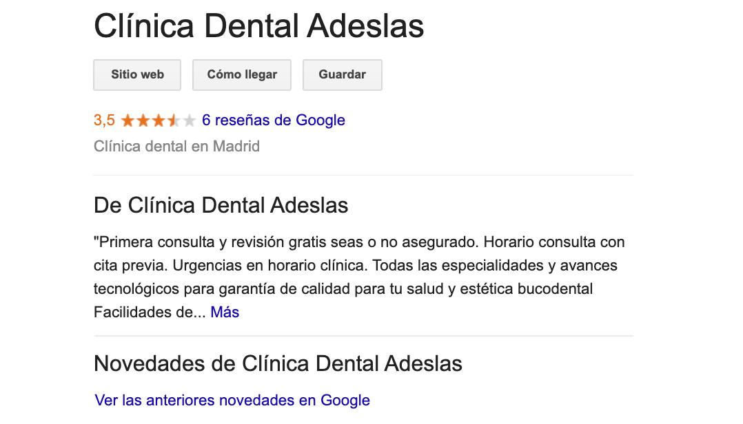 ejemplo de ficha google adaptada a la búsqueda escrita y por voz gracias al uso de una descripción detallada