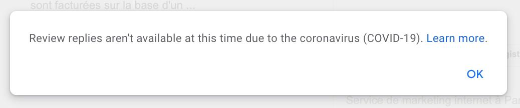 message d'erreur google my business quand on souhaite répondre à un avis
