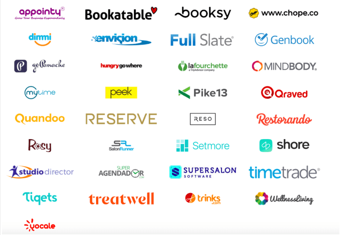 Plataformas de reservas disponibles en Google My Business al 17 de octubre de 2018