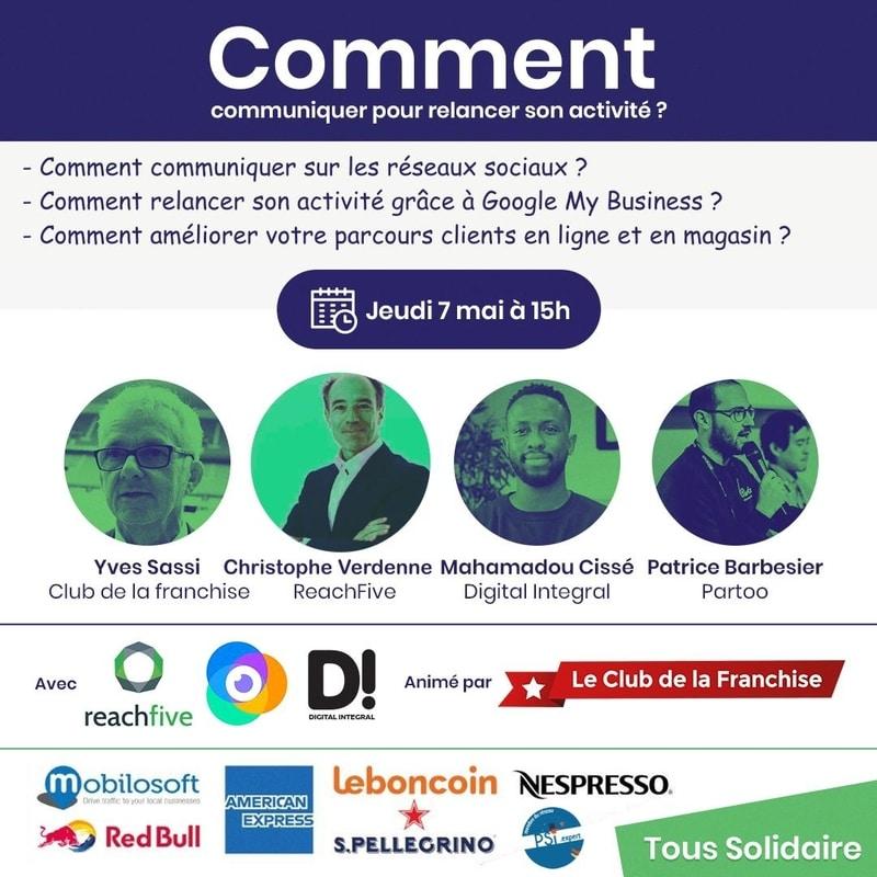 """Webinar Club de la Francise et Partoo sur """"relancer son activité après le 11 mai 2020"""""""
