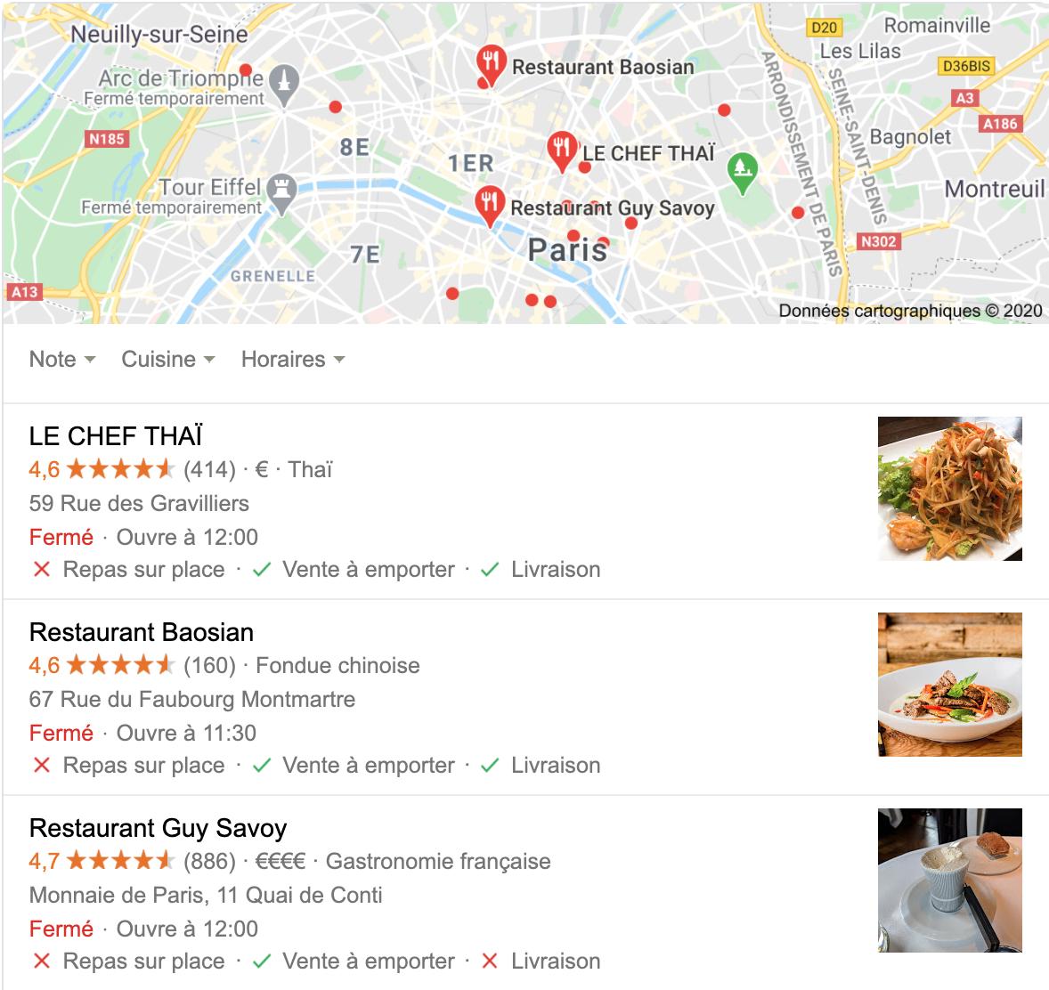 attributs livraison ou à emporter sur fiches google my business d'un restaurant