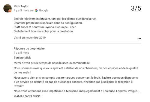 avis négatif sur la fiche google d'un hôtel