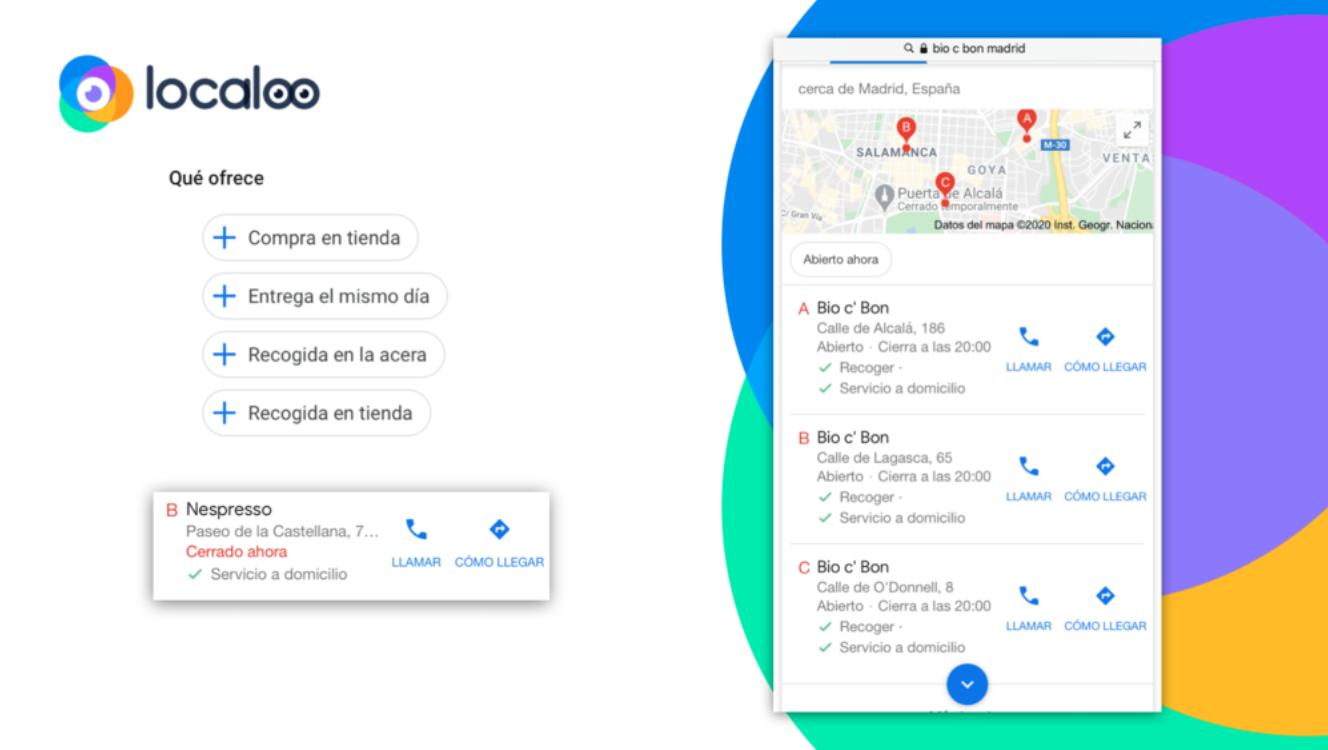 vista de los nuevos atributos de click&collect en el back office de google my business y el resultado en las fichas