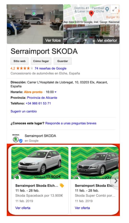 ficha google my business con catálogo de google posts donde se muestran las ofertas de un concesionario skoda