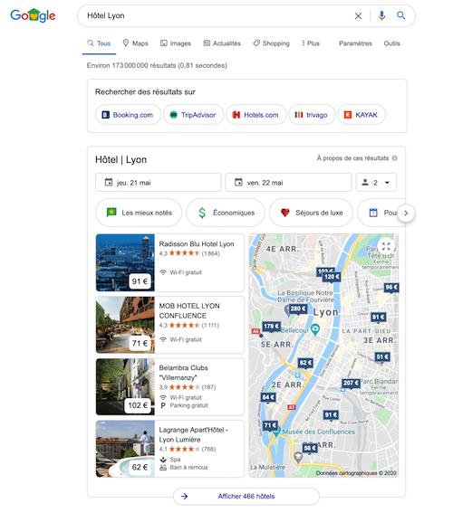 local pack des hôtels sur google