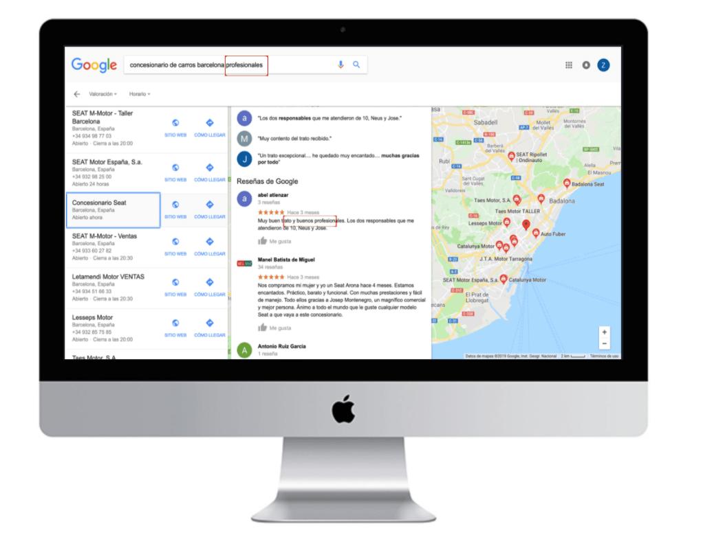 resultados de búsquedas google maps donde aparecen reseñas con las palabras clave introducidas en las búsquedas