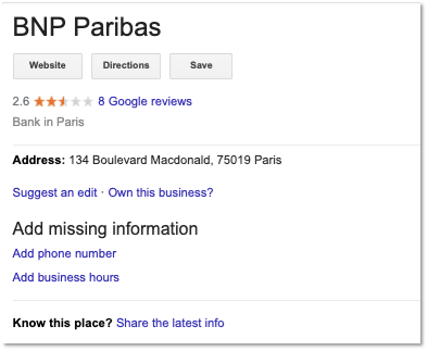 missing information GMB