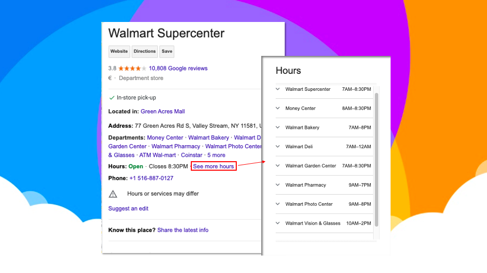Special hours GMB example with Walmart