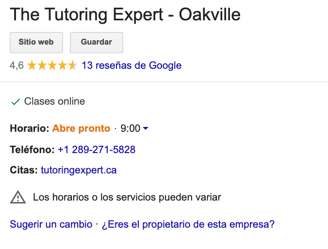 ficha google que indica el atributo de clases online