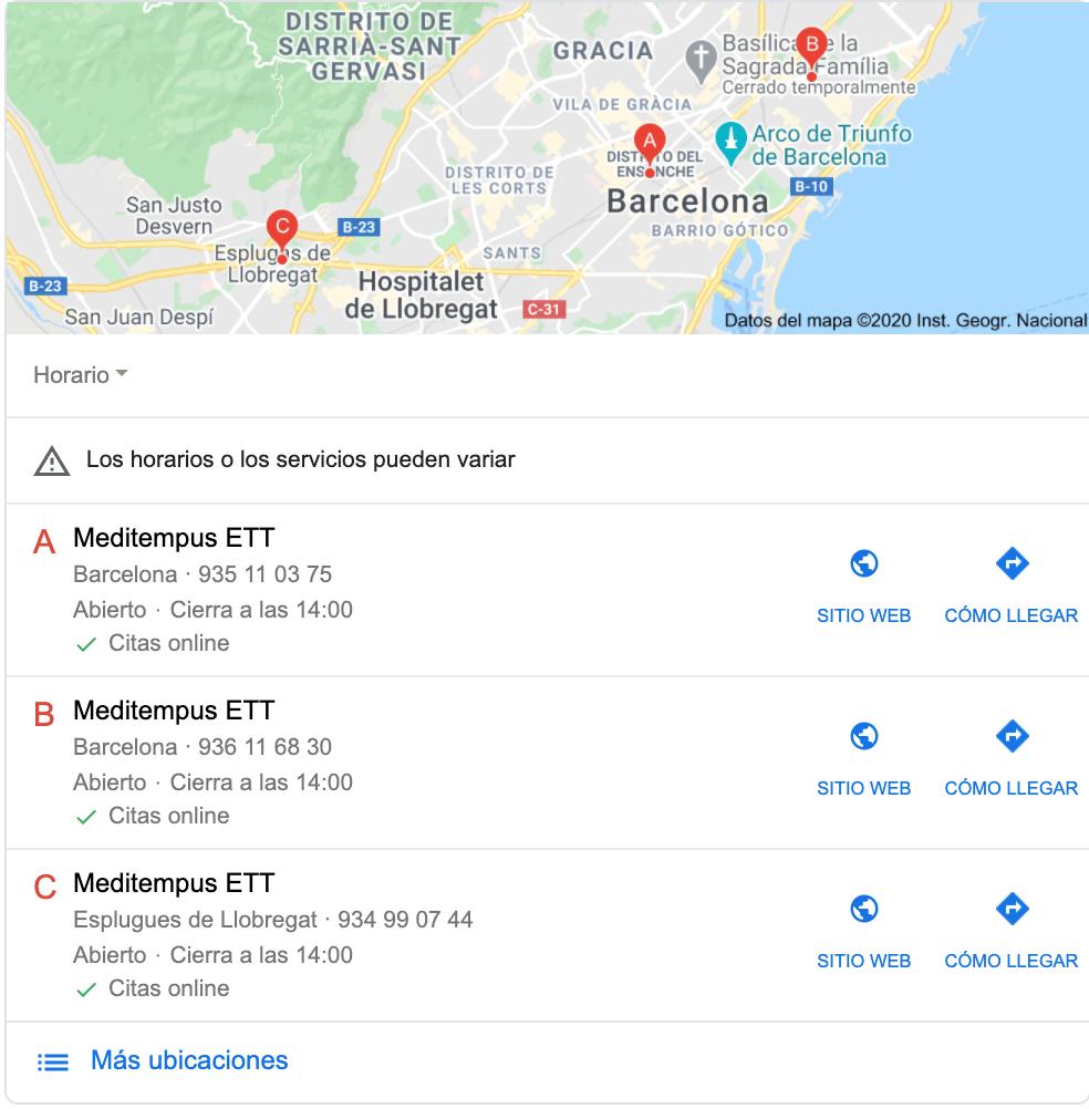 resultado de Local Pack en Google, donde la empresa Meditempus indica la posibilidad de concretar citas online a través de su atributo