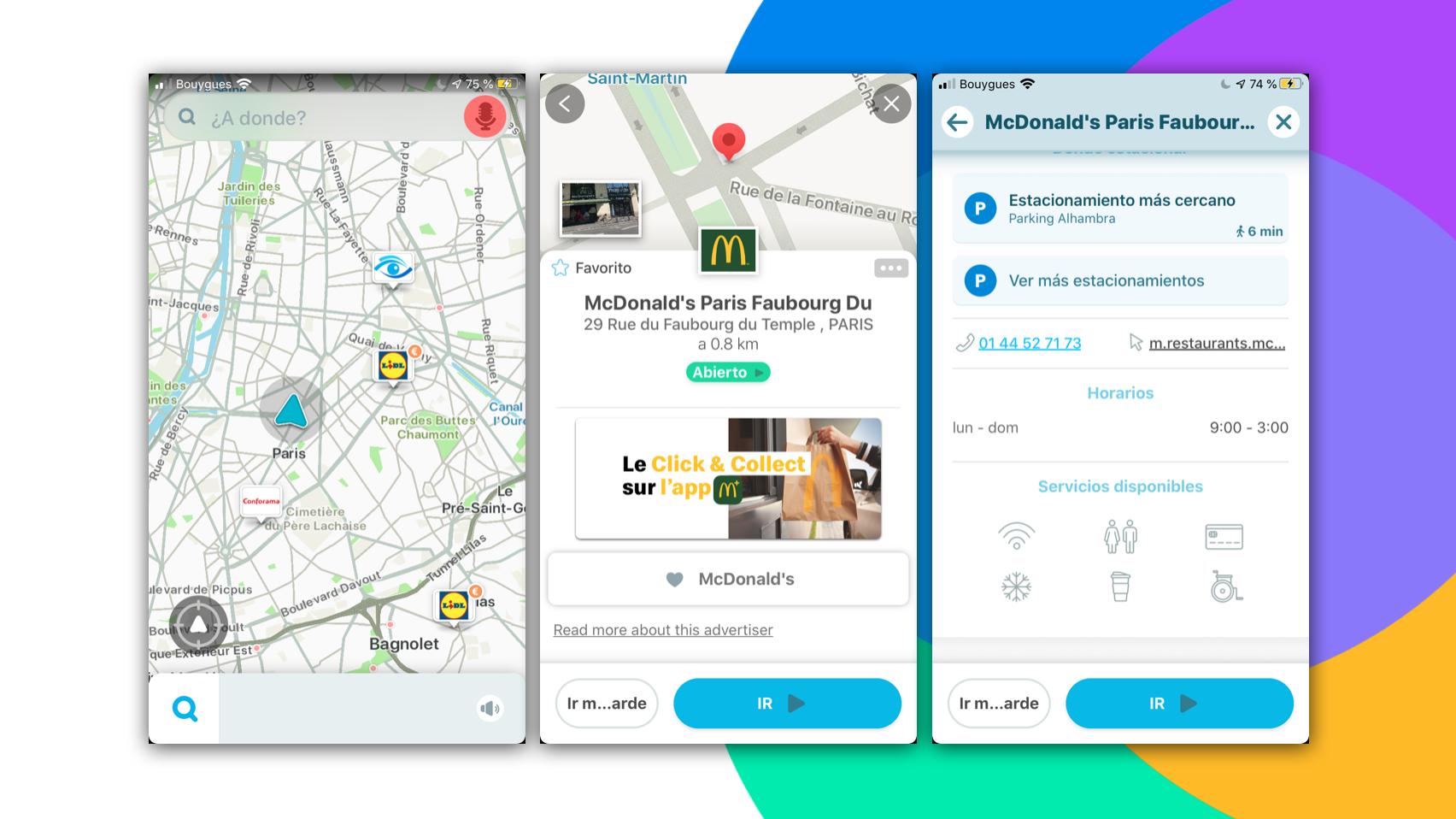 visualización de establecimientos dentro del trayecto dirigido desde la plataforma Waze