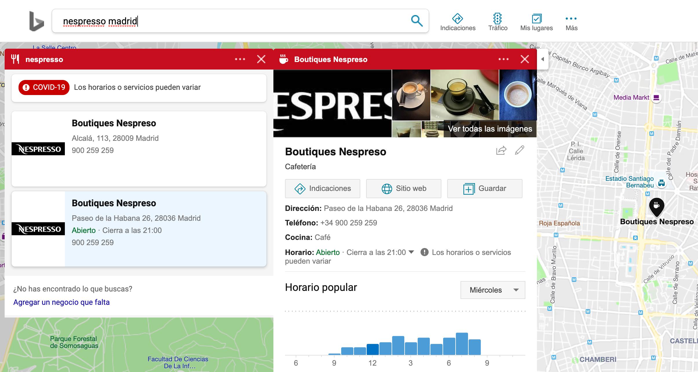visualización de ficha de establecimiento de Nespresso en Madrid en Bing Mapas