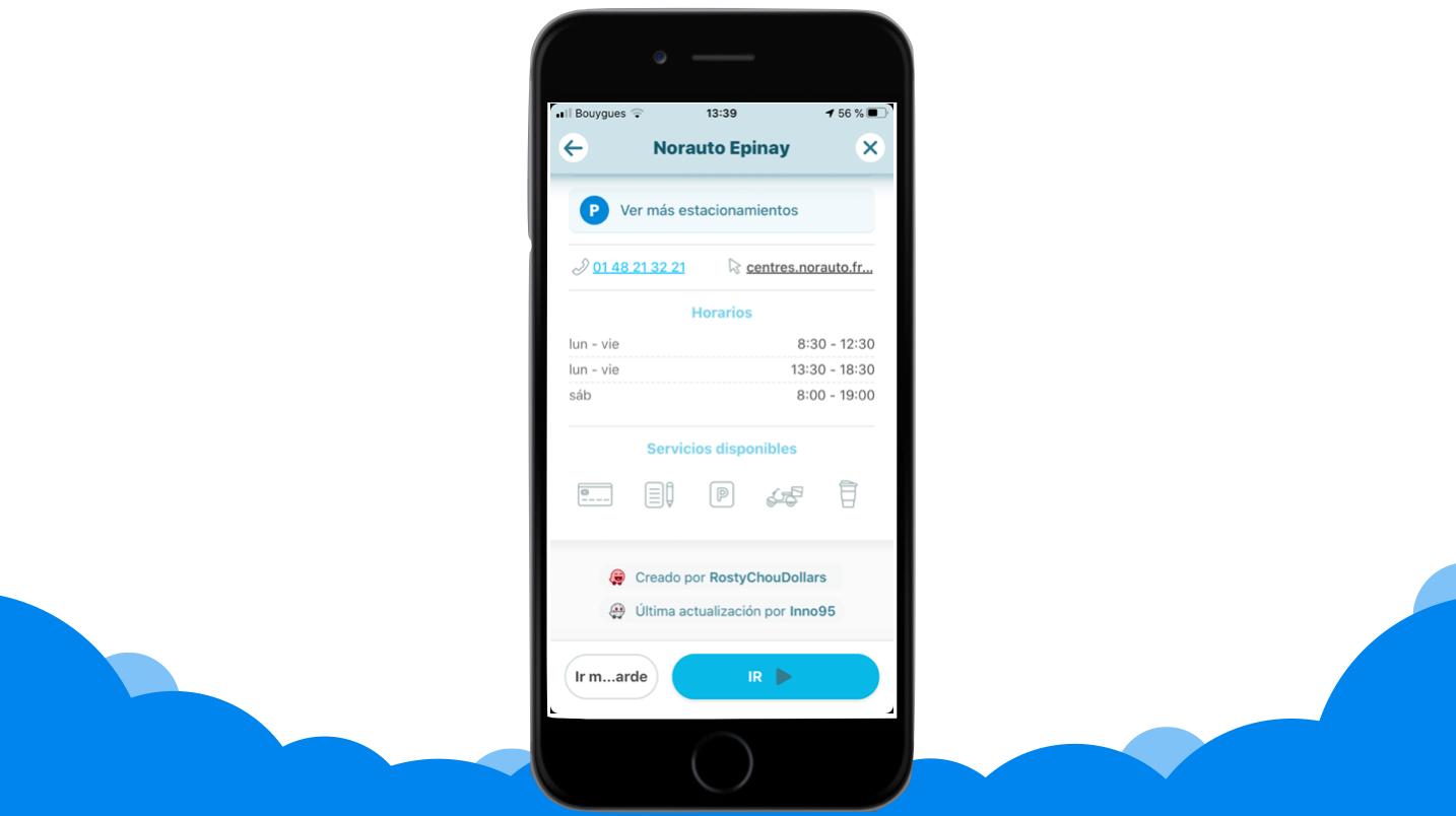 visualización de ficha de un establecimiento Norauto en Waze