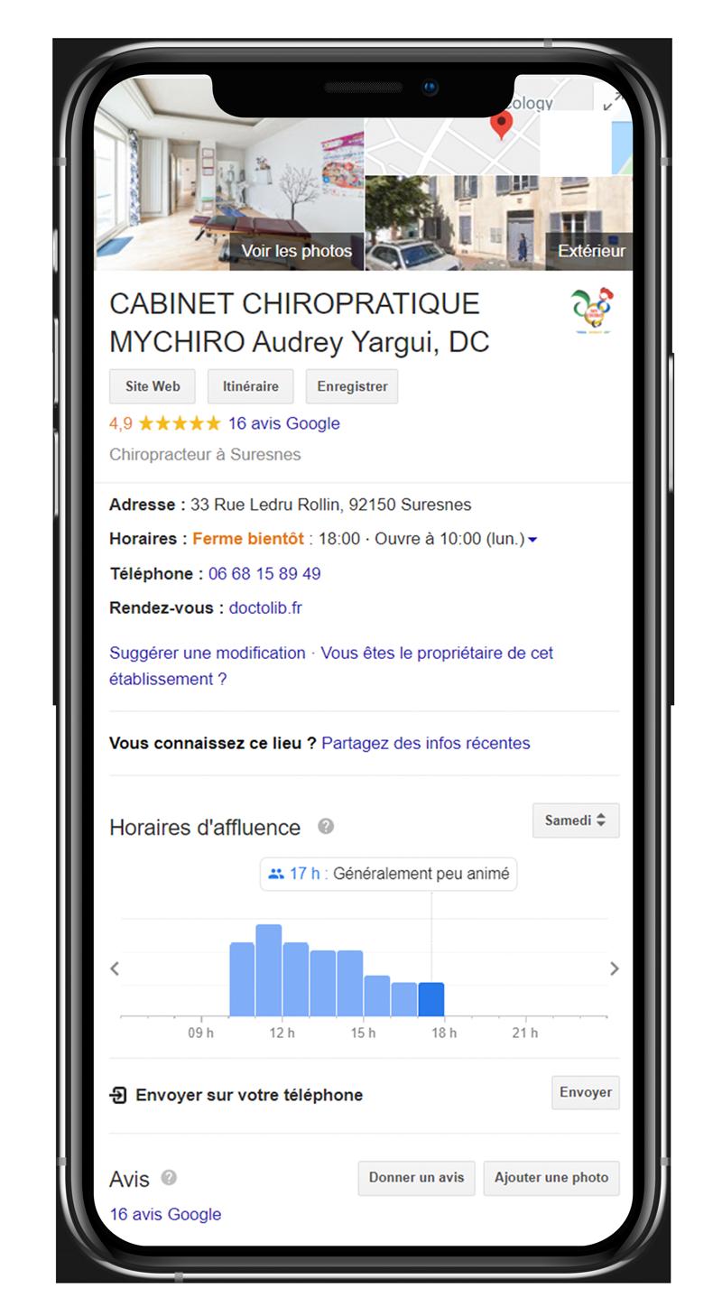 Un exemple d'information locale sur une fiche Google My Business