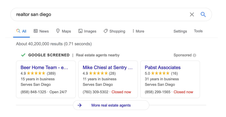 Anúncios exibidos no Google para agentes imobiliários
