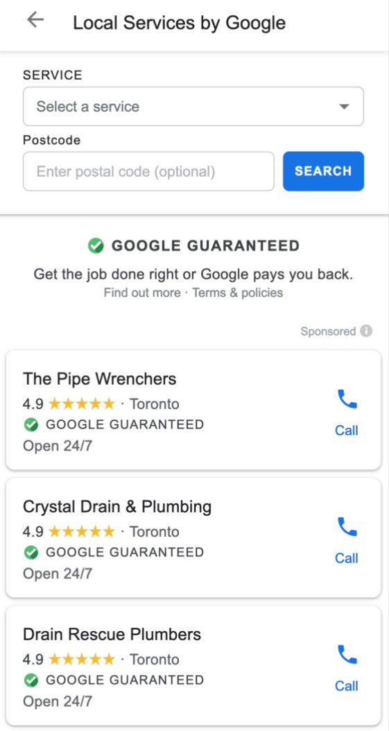 Google Guaranteed ads for plumbers