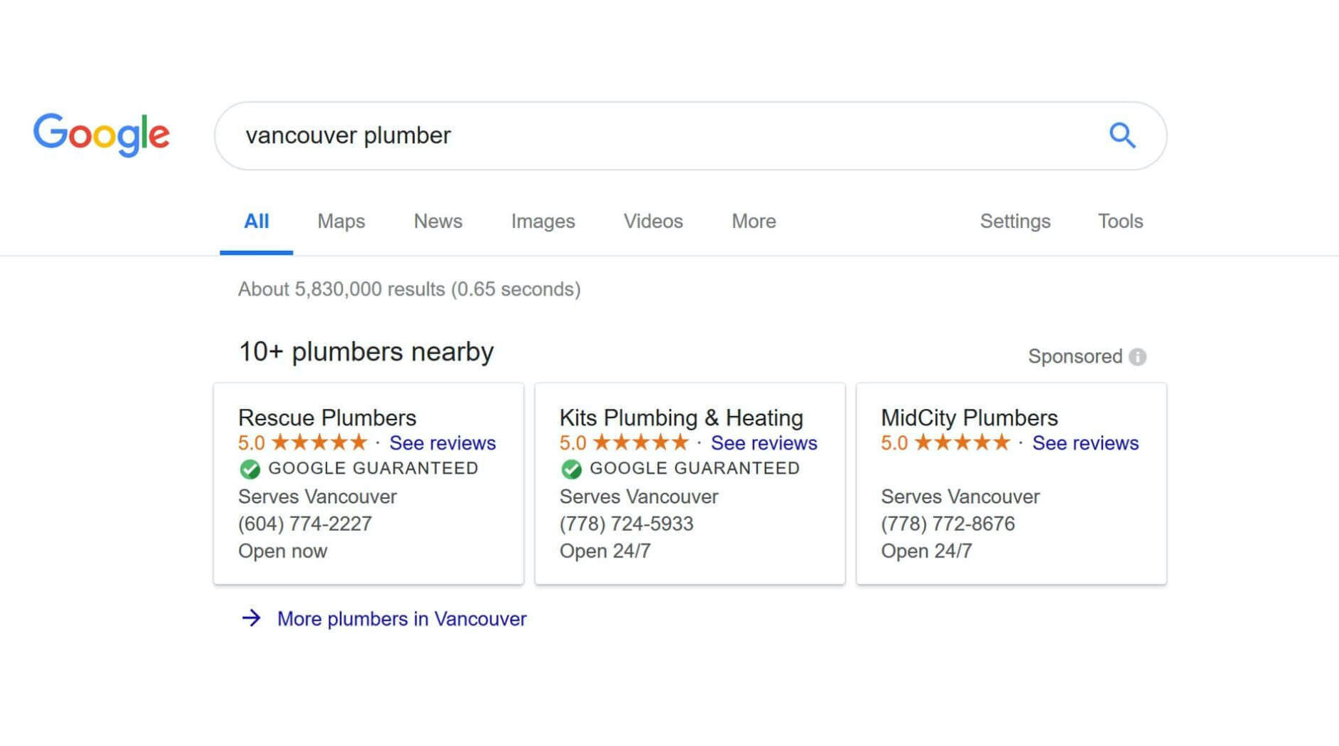 Google Guaranteed ads of plumbers in Vancouver