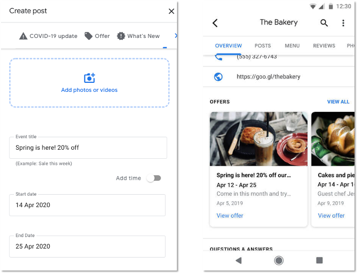 Google posts, Google My Business emergency situations