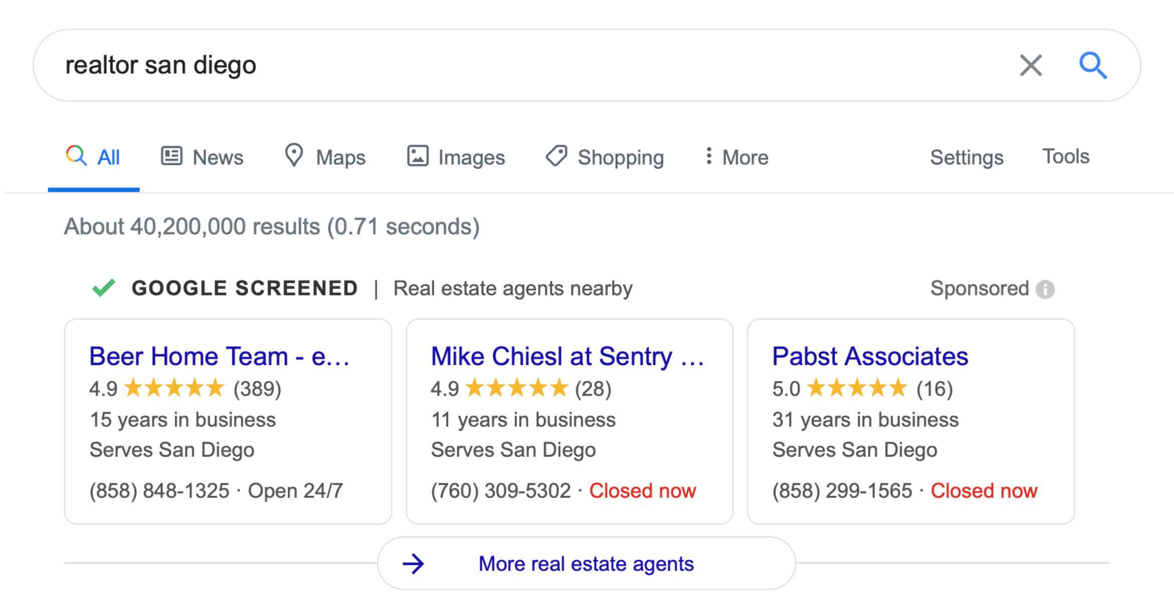 Google screened ads for real estate agents