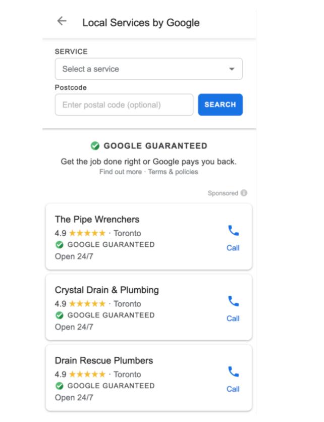 """búsqueda de servicio en Google a través de las insignias de """"Garantizados por Google"""""""