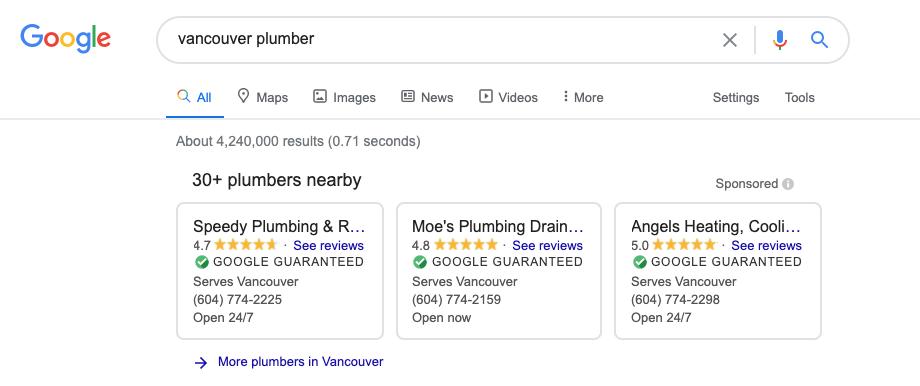 "insignias de ""garantizados por Google"" en Vancouver"