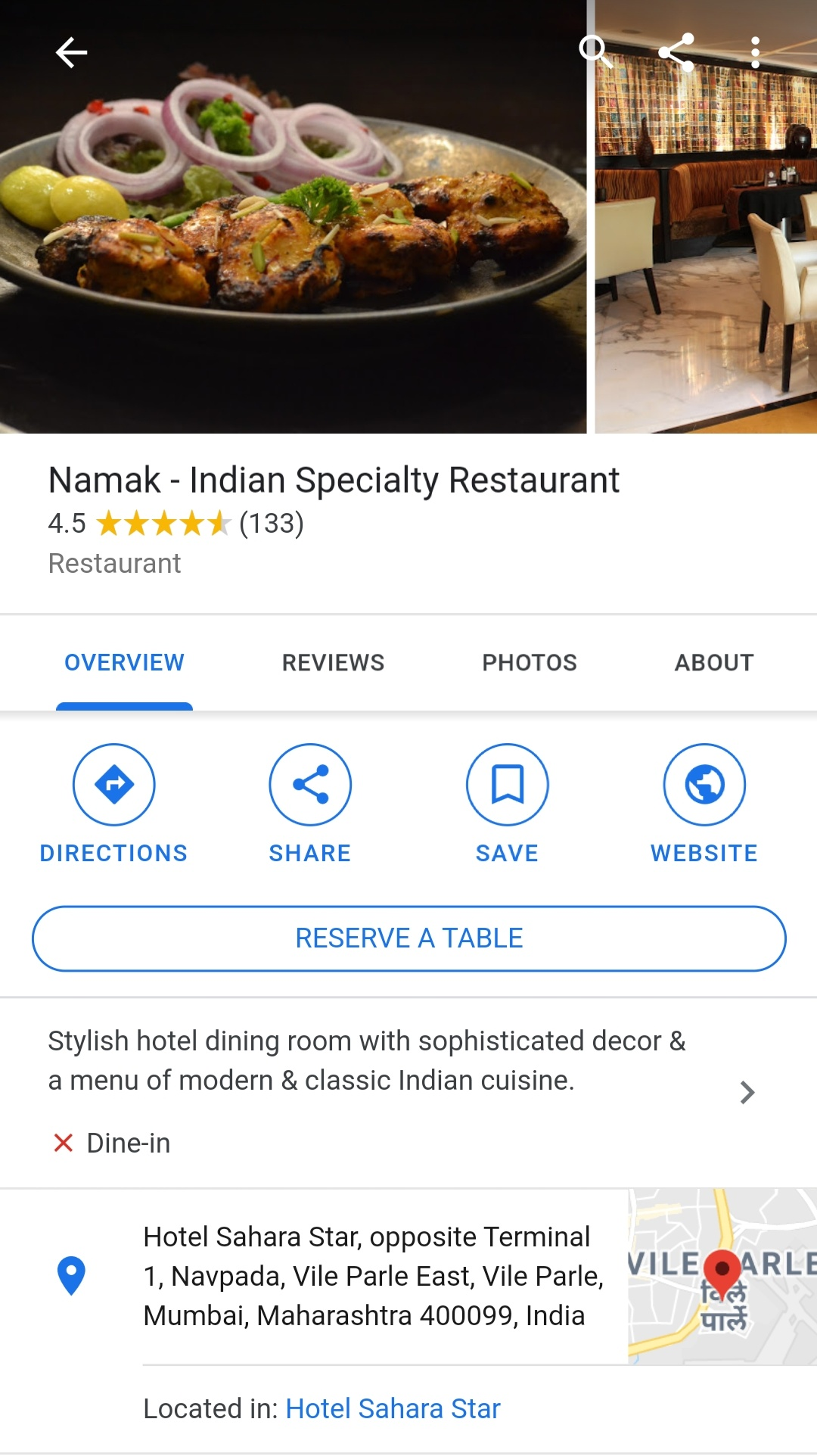 Namak restaurant information on Google