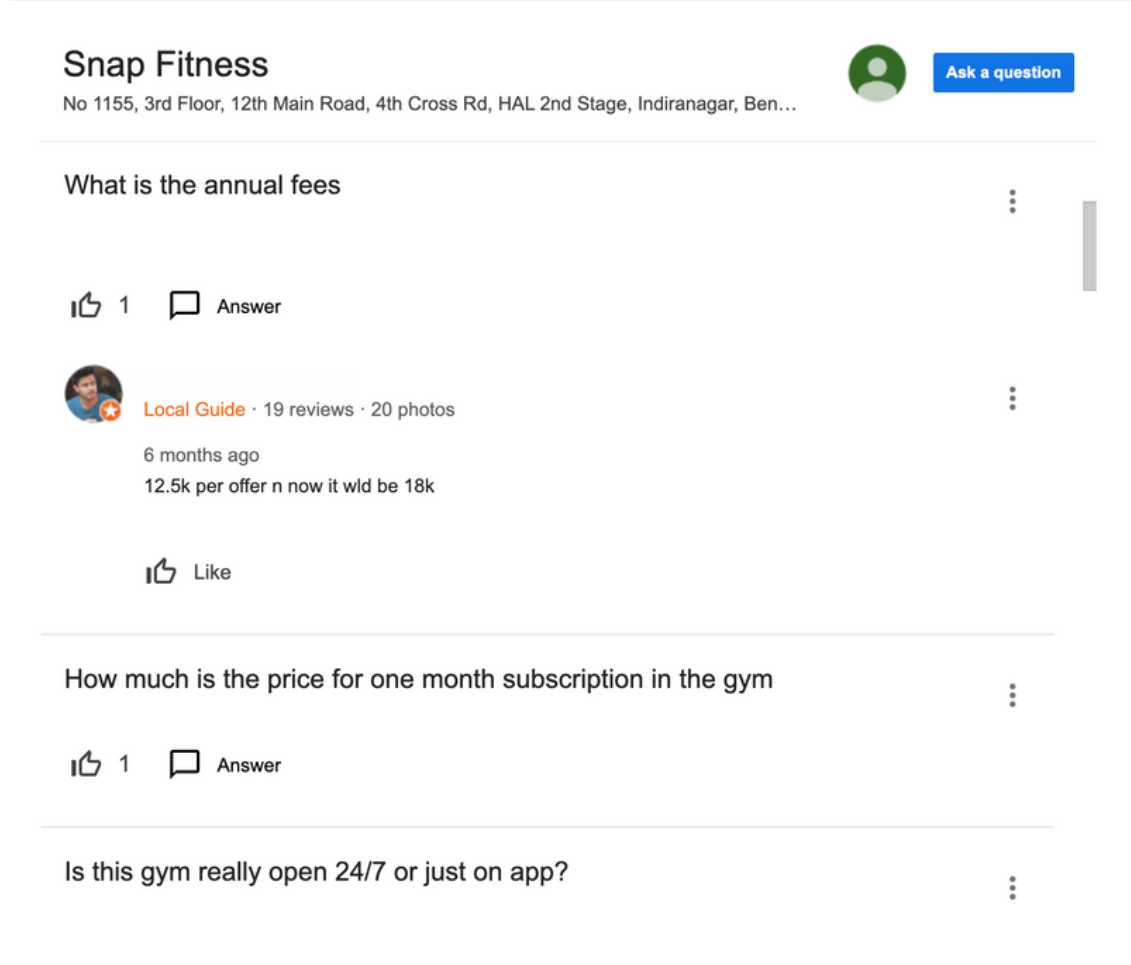 Snap fitness GMB page Question and Answers