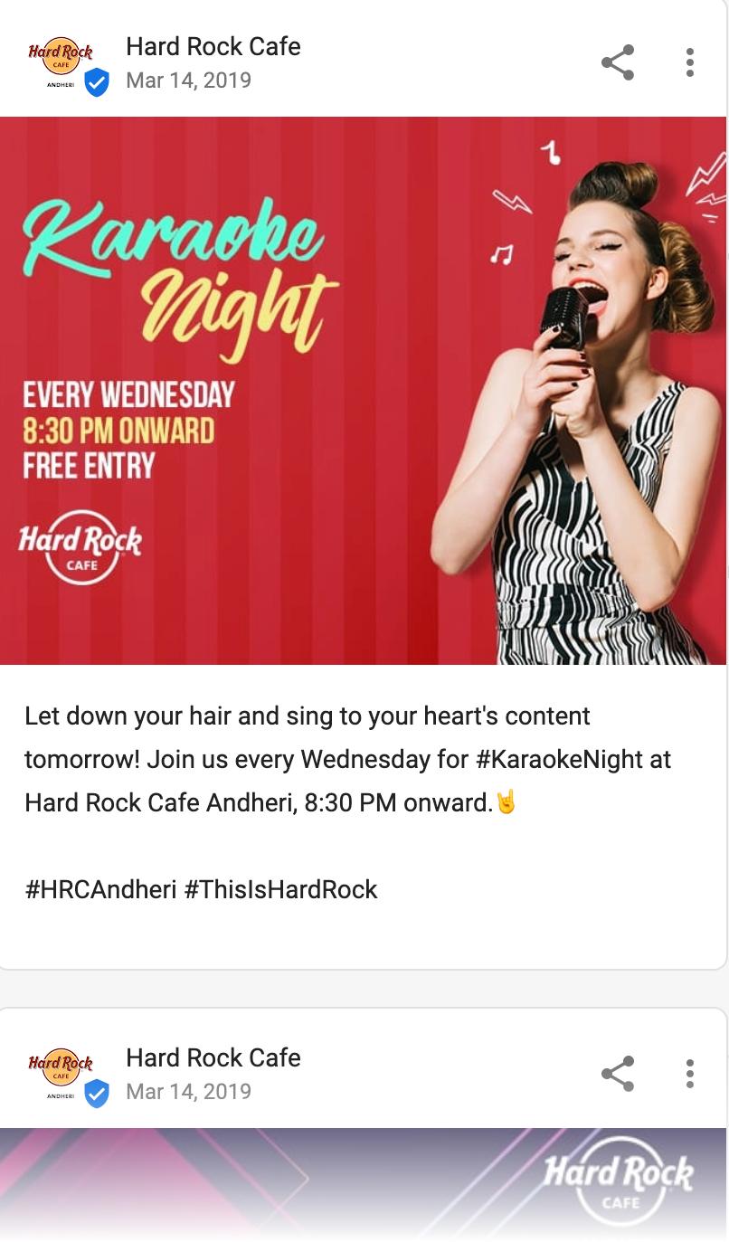 Hard rock cafe Google post