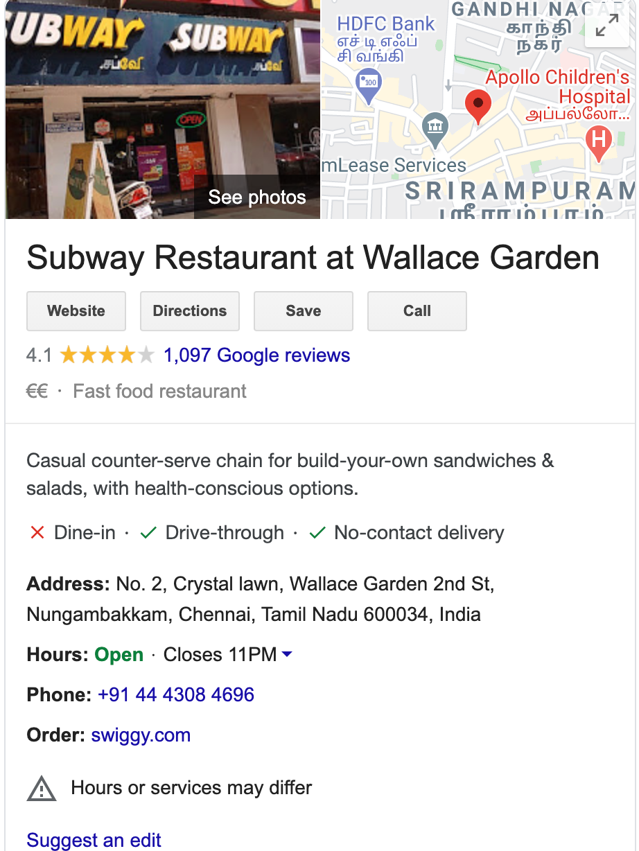 Google page of Subway restaurant page in Chennai, India