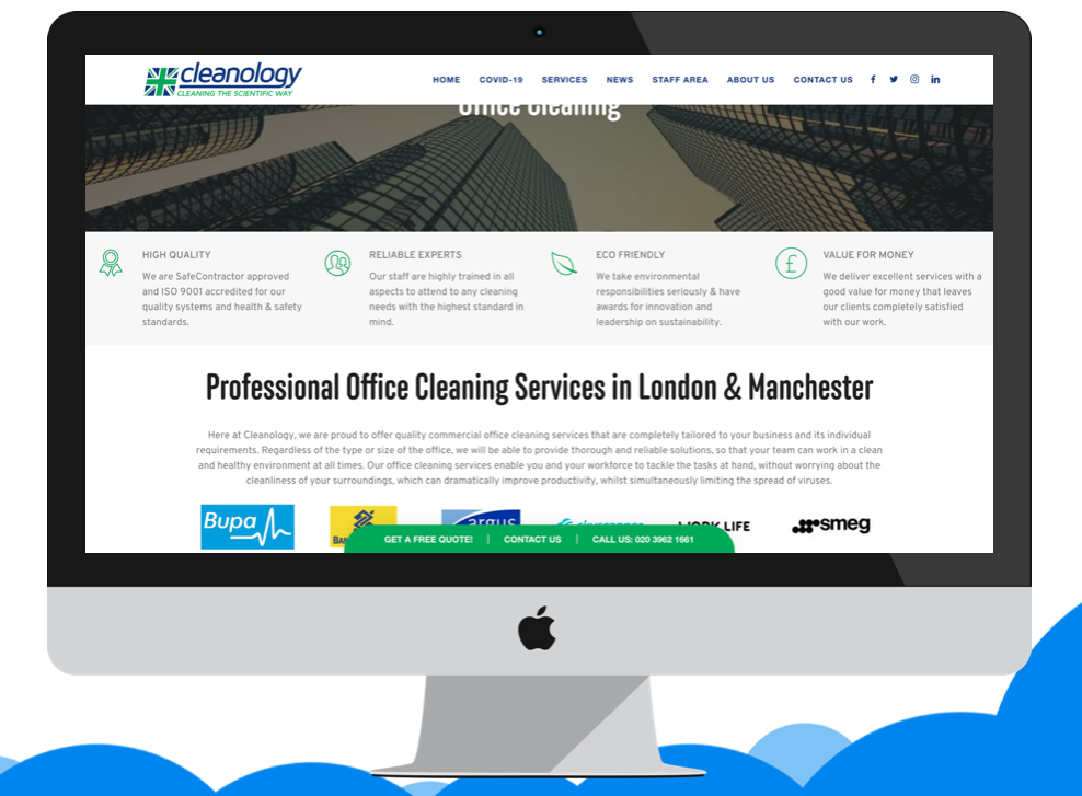 Website information for cleaning store in London