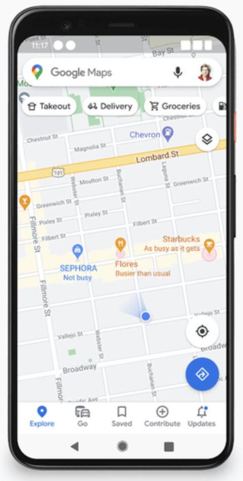 resultado de búsqueda Google Maps con la afluencia de gente en diferentes establecimientos
