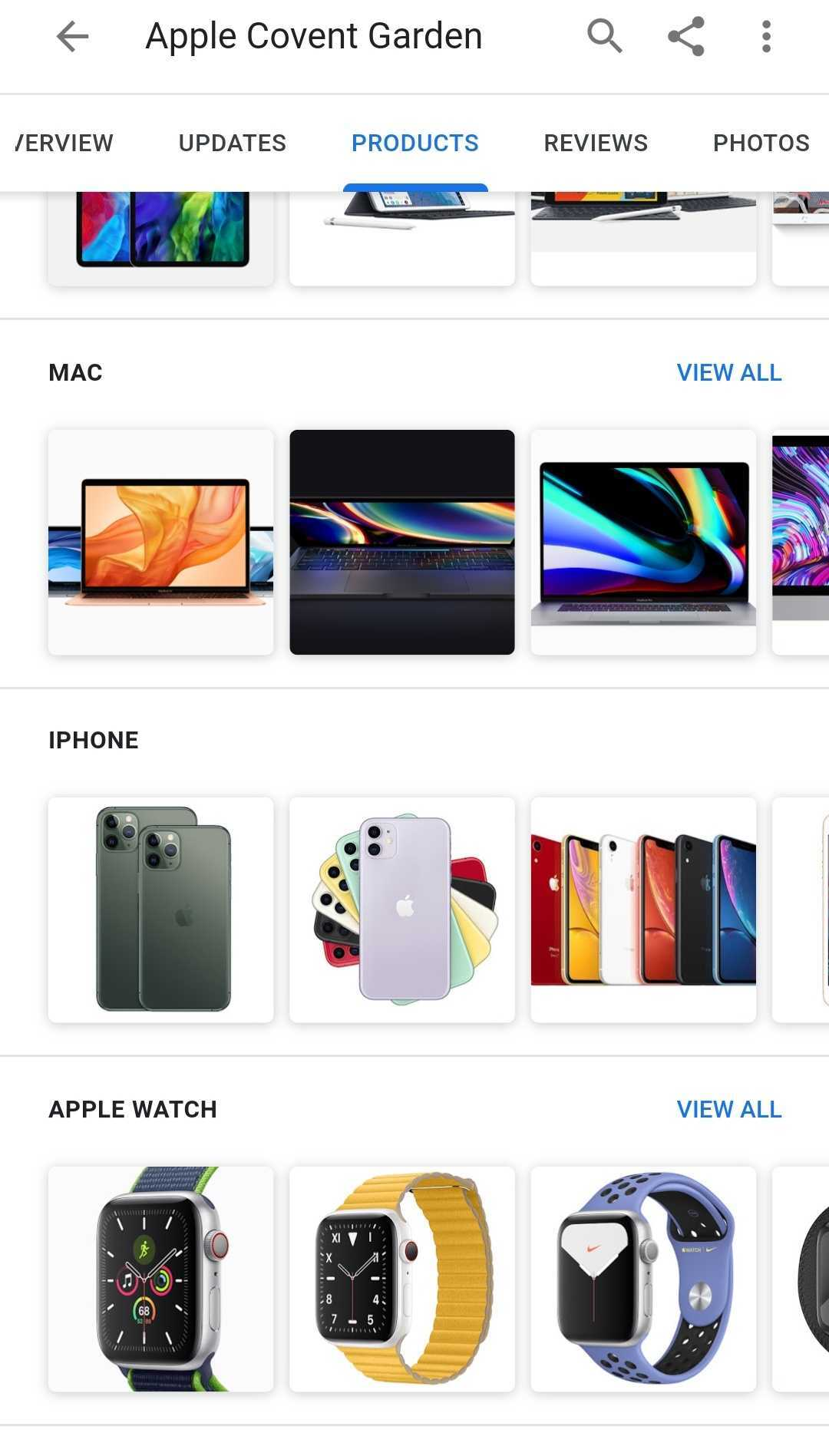 Apple products on GMB listing