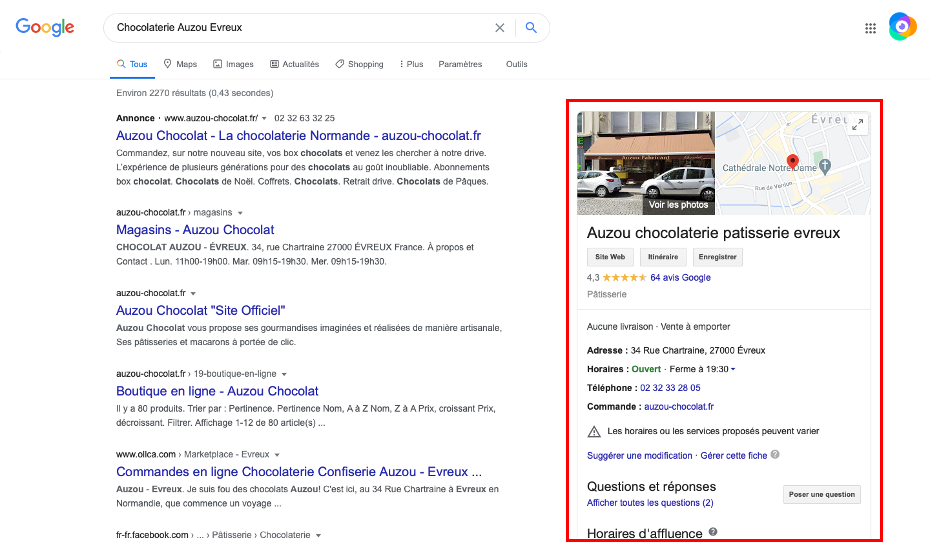 Aperçu d'une fiche Google My Business dans un résultat de recherche Google